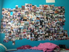 Someone's Comment: Teen Daughter- posts all her favorite pictures on her bedroom wall. My Response: lol Teen Bedroom, Bedroom Wall, Home Bedroom, Bedroom Decor, Bedroom Ideas, Bedrooms, Picture Collages, Picture Wall, Picture Ideas