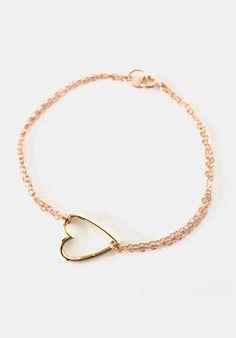 Golden Heart on Rose Gold Chain bracelet simple