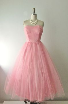 50's Prom Dress // Vintage 1950s Strapless by TheVintageStudio