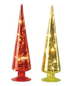 This Red & Green Light-Up Christmas Tree Figurine Set is perfect! #zulilyfinds