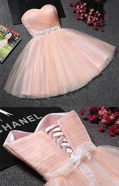 Strapless Sweetheart Neck Homecoming Dress,Blush Pink Tulle Graduation Dresses,Sweet 16 Dresses,Short Prom Dresses with Sash,Short Formal Dress