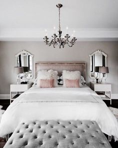 @queenlikekat white and blush master bedroom