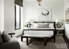 """Westbrook's mantra of using """"pieces with power"""" is evident in one of the son's rooms, in which sculptural furnishings add impact."""