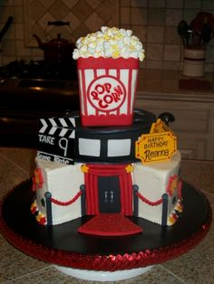For Amanda's girls - add Smurfs! Birthday at the Movies By aptarpley on CakeCentral.com