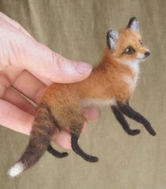 Miniature needle felted red fox, made to order see descrption by Ainigmati on Etsy https://www.etsy.com/listing/123486340/miniature-needle-felted-red-fox-made-to