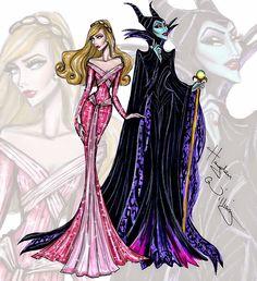 #Hayden Williams Fashion Illustrations #Princess vs Villainess by Hayden Williams: Aurora & Maleficent