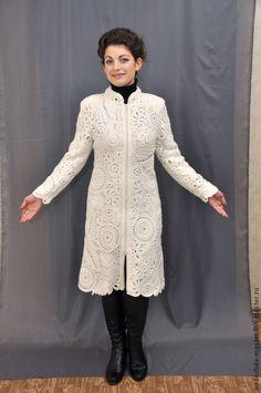 """Верхняя одежда ручной работы. Пальто вязаное """"Очарование"""", пальто демисезонное, для свадьбы. Надежда Тарубарова. Интернет-магазин Ярмарка Мастеров."""