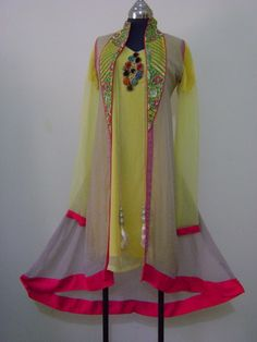 """3 Piece Party Wear Indian Crinkle Chiffon Suit Top, Kameez, & Trouser/Shalwar  Top : Top with Pink Lining/Piping/Borders and heavy Embroidery Patch at centre Inner: Yellow Inner with Shameez, could be use as separate Kameez, length: 43"""" Trouser/Shalwar : Plain Pink length: 40"""" Fly 16"""" Sharara Style Paincha 17""""  Price : USD $48.00/- Excluding Shipment Charges   NOTE : There is a little stitching mark at the inner near left shoulder that's why we are selling at less price"""