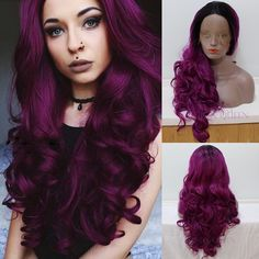 44.50$  Watch here - http://aliulo.worldwells.pw/go.php?t=32787587686 - Black To Purple Ombre Synthetic Lace Front Wig Synthetic Body Wave Wig Long Wavy High Quality Heat Resistant Lace Front Wig 44.50$