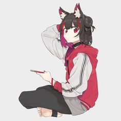 Cat girls give you a sense of freedom  Anime Wolf Girl, Anime Cat, Kawaii Anime Girl, Anime Manga, Anime Wolf Drawing, Anime Sketch, Anime Blue Hair, Werewolf Girl, Anime Sisters