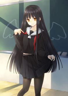 pretty anime girl with black hair and black school uniform! like the idea behind this with the wings :3