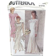 Items similar to Vintage Butterick 4415 Womens Fitted Straight Wedding Dress Gown Formal Evening Bridal Bridesmaid Size 8 10 12 Uncut Sewing Pattern on Etsy Vogue Wedding Dress Patterns, Straight Wedding Dresses, Clothing Patterns, Sewing Patterns, Square Neckline Dress, Gown Pattern, Miss Dress, Bridal Dresses, Vintage Sewing