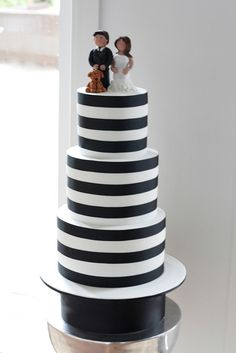 Black and White Stripe Wedding Cake by Baking Addict, via Flickr