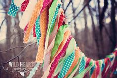 Fabric Garland, Vintage Holiday, as seen on Wild Hearts Photography, Approx. 5-6 Feet,  Birthday Decor, Great Photo Prop, Rustic Holiday