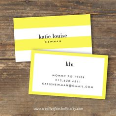 Calling Card or Business Card  Lemon Luxe  by CreativeFoxStudio, $10.50