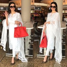 Divya Khosla Kumar is a vision in white as she was snapped at the airport. Pakistani Dress Design, Pakistani Outfits, Indian Attire, Indian Ethnic Wear, Ethnic Style, Ethnic Outfits, Indian Outfits, Indian Clothes, Salwar Designs