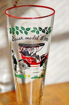 6 Mid Century Pilsner Glasses, Vintage Set of 6 Libbey Buick Model C 1905 Pilsner Glasses, Barware, Beer Glasses, Mid Century Glassware