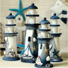 beautiful Lighthouse home decor can give your home a feel of being grounded and settled, of being a safe haven. Description from lighthouse-decor-. I searched for this on /images Clay Pot Projects, Clay Pot Crafts, Diy And Crafts, Diy Clay, Sewing Projects, Clay Pot Lighthouse, Lighthouse Decor, Garden Lighthouse, Seashell Crafts