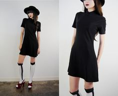 vintage dress 1990's black minimal goth grunge by youngandukraine, $40.00