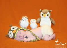 newborn cutie with teeney owls. via Tara Renaud, www.freshfacephotos.com