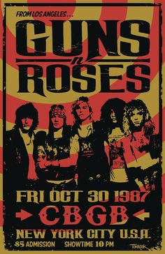 fondos Guns N Roses 1987 Concert Poster 80s Posters, Posters Vintage, Vintage Concert Posters, Tour Posters, Music Posters, Posters For Room, Posters Diy, Vintage Quotes, Poster S