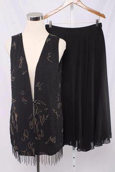 Black Tie Oleg Cassini Size 6 Black Silk Sequin Embellished Skirt Set 621 L916    eBay