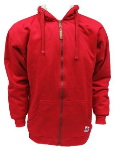 Red Farmall Zip Up Hooded Jacket , Sherpa Lined Subtle IH Logo