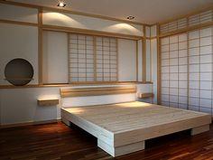 Schlafzimmer japanischer Stil – Linz/ Österreich – Japanischer Wohnstil Shoji Bett Schiebetüren 001