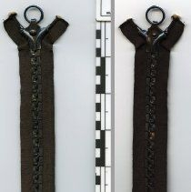 Image of zipper, full length closed: front (left) and back