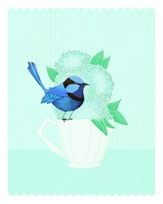 blue bird art print Birds & Teacups No 9 by TheFoxandTheTeacup