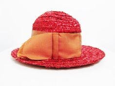 Vintage Hat Red Straw with Grosgrain Ribbon by FairSails on Etsy, $16.00