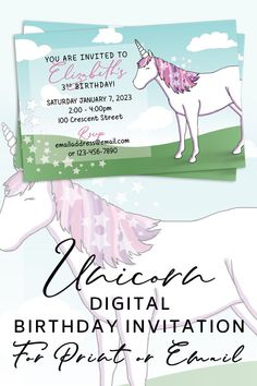 Having a last minute party? No need to print these modern unicorn invites! Just have them personalized and email them out for a quick and easy invitation.