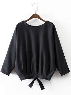 Shop Batwing Sleeve Bow Tie Detail Wrap Back Blouse online. SheIn offers Batwing Sleeve Bow Tie Detail Wrap Back Blouse & more to fit your fashionable needs. Batwing Top, Batwing Sleeve, Mode Hijab, Black Blouse, Bow Blouse, Collar Blouse, Shirt Jacket, Look Fashion, Street Fashion