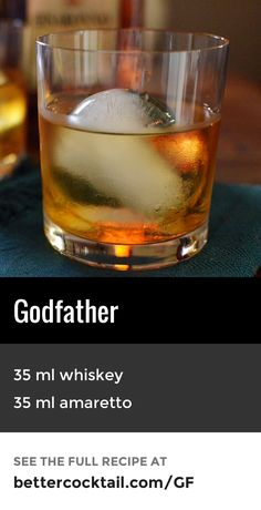 "The Godfather cocktail is a sophisticated, yet simple recipe. It consists of just two ingredients: scotch whisky and amaretto. Although the official recipe calls for scotch whisky, this is sometimes substituted with a whiskey such as Bourbon. The recipe Disaronno recommend differs slightly, with a recommendation of 5 parts scotch whisky to 3 parts amaretto. The Godfather is normally served ""on the rocks"" in an old fashioned glass."