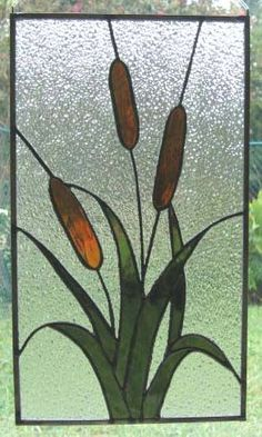 Cattails - Stained Glass Panel.