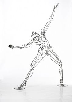 Stainless Steel Wire Sculpture, Life-size, Alvin Ailey Danceresque