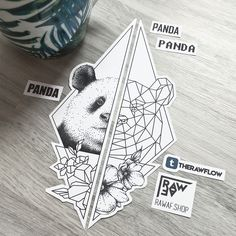 Dotwork geometric panda flowers tattoo design - download: www.rawaf.shop