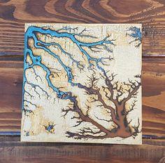 Lichtenberg / Fractal Art Blue and Red Square от PhoenixSparkShop