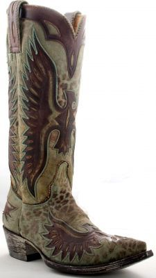 Womens Old Gringo Eagle Boots Turquoise