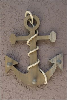 "12"" Tall Handcrafted Wooden Anchor with Rope 3 Peg Wall Hanging, Nautical Towel Rack, Nautical Decor, Beach or Pool Decor, Hat or Key Hook. $45.00, via Etsy."
