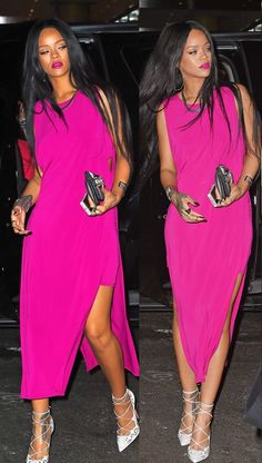 Rihanna wearing Helmut Lang pink dress while spotted at the Butter Restaurant in Midtown Manhattan (August 2014). #rihanna
