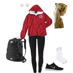 A fashion look from August 2013 featuring red jacket, nike leggings and sport shoes. Browse and shop related looks. Casual School Outfits, Lazy Day Outfits, Summer Outfits, Fall College Outfits, Stylish Outfits, Nike Outfits, Workout Outfits, Preppy Style, My Style