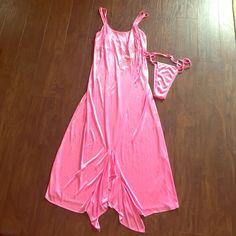 Pink lingerie set Pink strappy lingerie set. Never been worn! Intimates & Sleepwear Chemises & Slips
