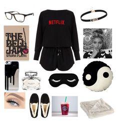 """night home Watson Netflix"" by iraqlovegirl ❤ liked on Polyvore featuring Helmut Lang, UGG Australia, Olympia Le-Tan and Gucci"