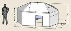 Folding hexayurt with standard panels