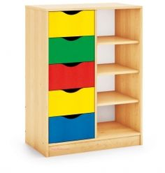 Multi-activity storage unit with drawers and shelves. A series of birch laminate library furniture with wardrobe .