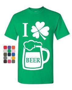 71cdce357 I Love Beer T-Shirt Irish Heart Shamrock St. Patrick's Drinking Mens Tee  Shirt