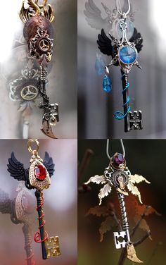The Most Bizarre, Strange, Weird, Odd and Funny Jewelry Key Jewelry, Cute Jewelry, Jewelery, Jewelry Accessories, Jewelry Making, Style Steampunk, Steampunk Fashion, Magical Jewelry, Black Gold Jewelry
