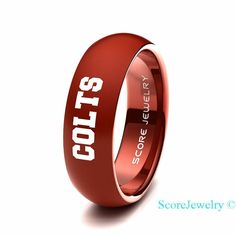Red Tungsten Band Ring Mens Womens Ring NFL Football Indianapolis Colts Ring Birthday Anniversary Gift