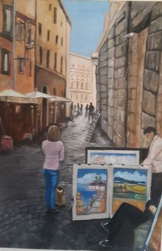 Piazza Navona, Italy.  Oil on boxed canvas. 590x760mm. R3,500
